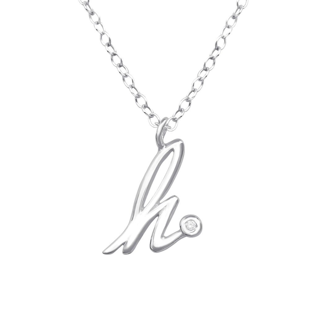 Initial Letter Round CZ Crystal Sterling Silver Necklace - I love silver jewellery