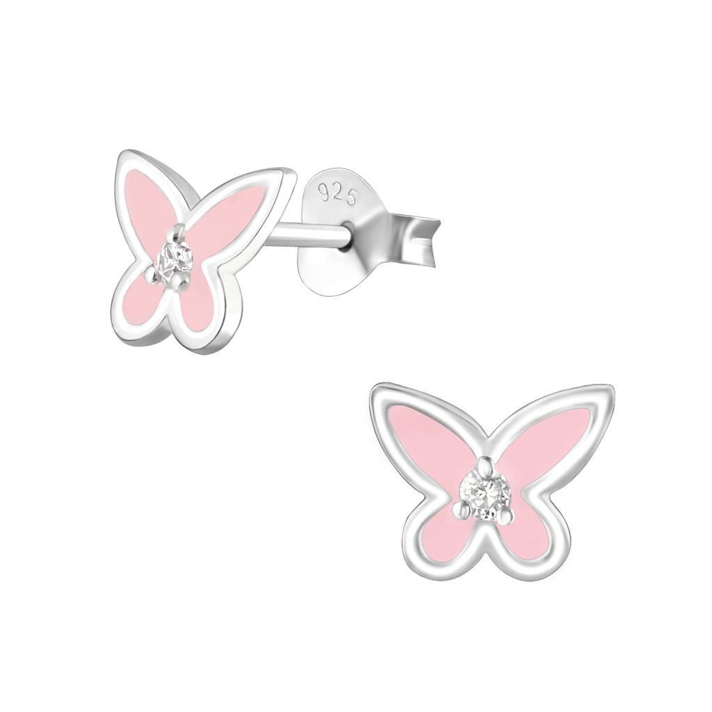 Girls Light Pink Crystal Butterfly Sterling Silver Stud Earrings - I love silver jewellery