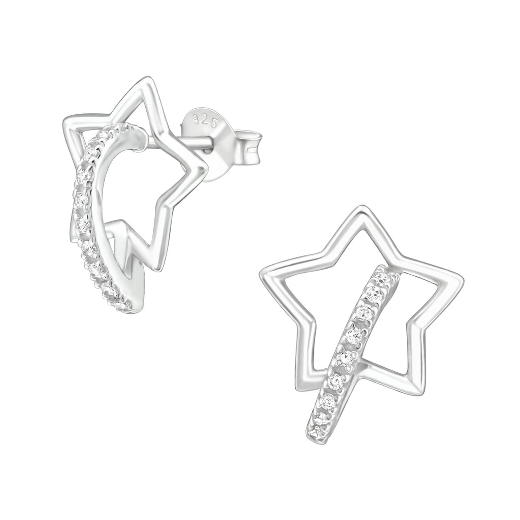 Outline Star CZ Crystal Sterling Silver Stud Earrings 15mm - I love silver jewellery