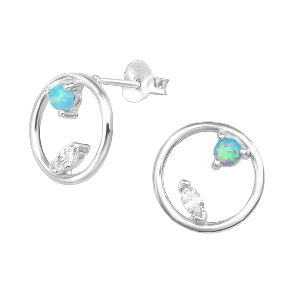 Blue CZ Floating Crystal Open Round Sterling Silver Stud Earrings - I love silver jewellery