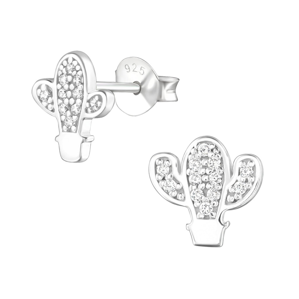Cactus CZ Crystal Sterling Silver Stud Earrings - I love silver jewellery