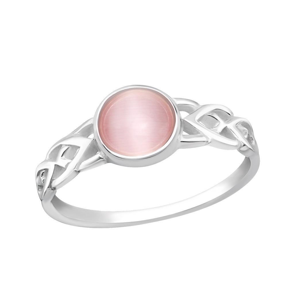 Pink Glass Celtic Plait Sterling Silver Ring - I love silver jewellery