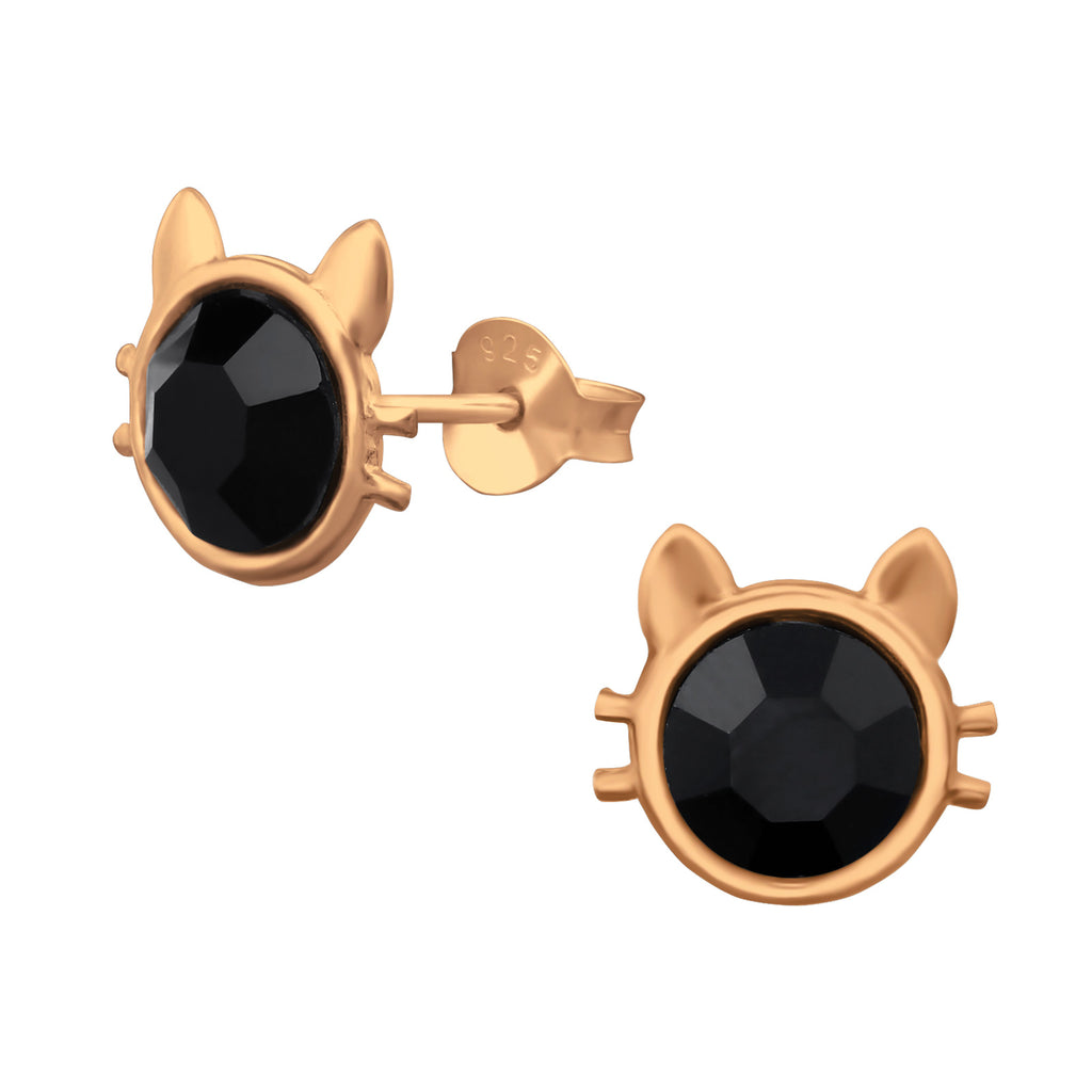 Rose Gold Plated Black Cat Sterling Silver Stud Earrings - I love silver jewellery