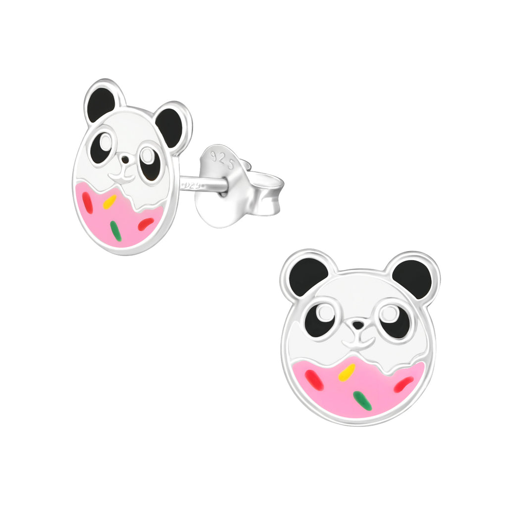 Girls Sprinkle Panda Sterling Silver Stud Earrings - I love silver jewellery