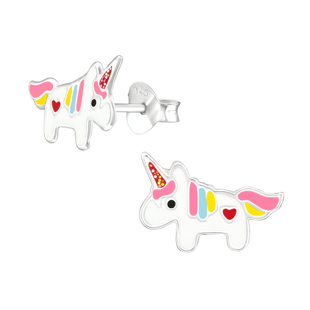 Girls Multi Unicorn Love Heart Sterling Silver Stud Earrings - I love silver jewellery