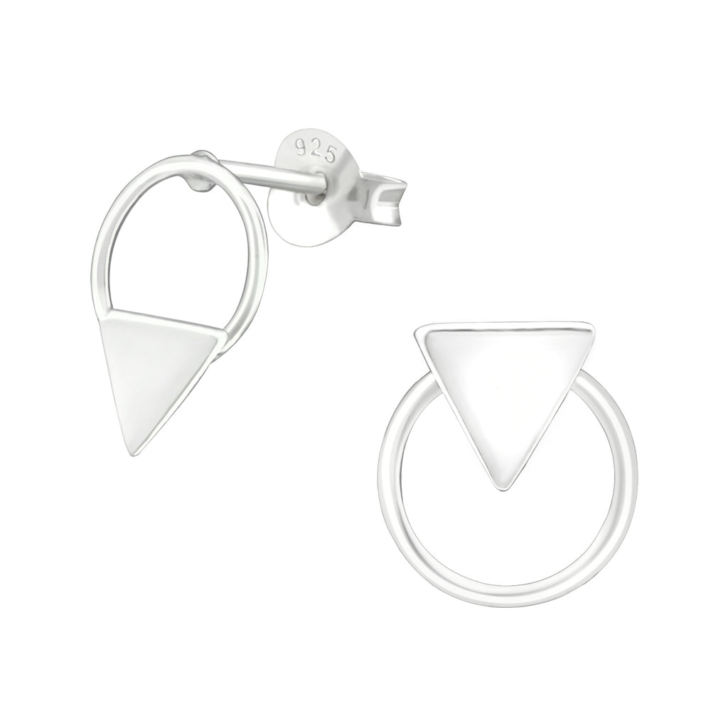Contrasting Triangle Sterling Silver Stud Earrings 11mm - I love silver jewellery