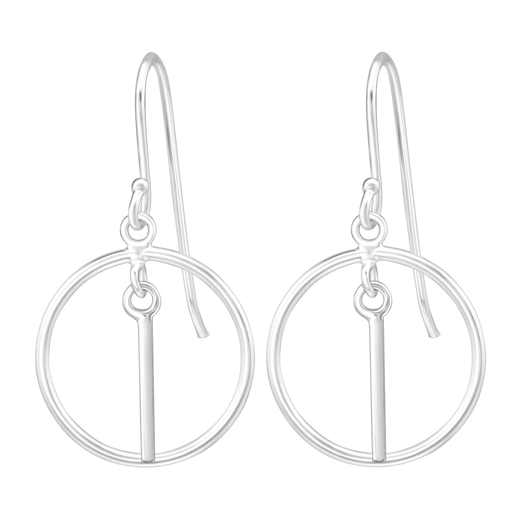 Circle Bar Sterling Silver Small Drop Earrings - I love silver jewellery
