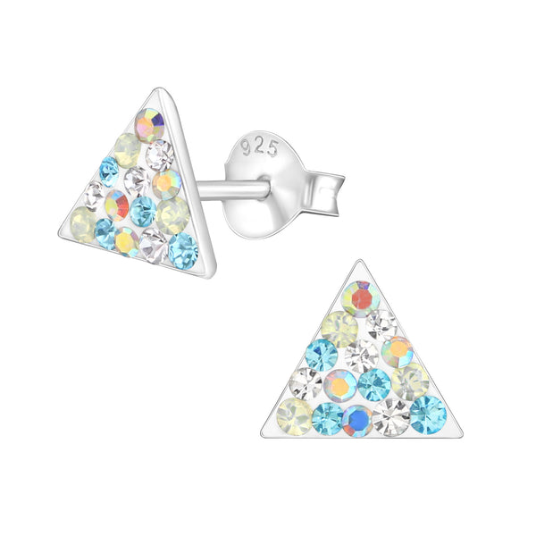 Blue AB Crystal Triangle Sterling Silver Small Stud Earrings - I love silver jewellery