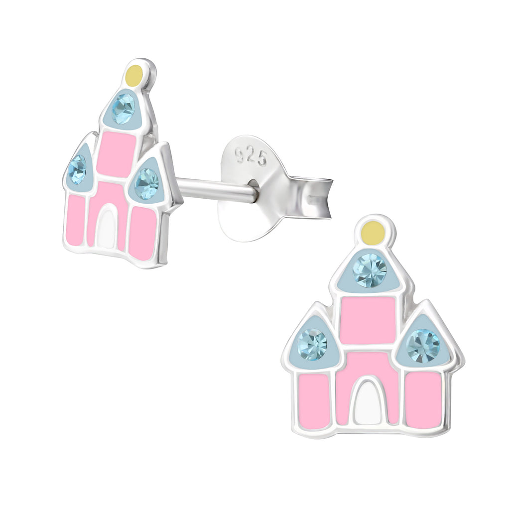Girls Pink Princess Castle Sterling Silver Stud Earrings - I love silver jewellery