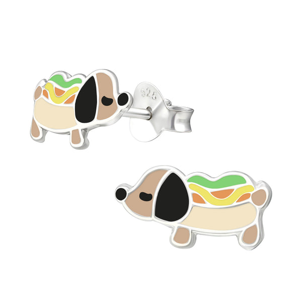Girls Sausage Dog Hot Dog Sterling Silver Stud Earrings - I love silver jewellery