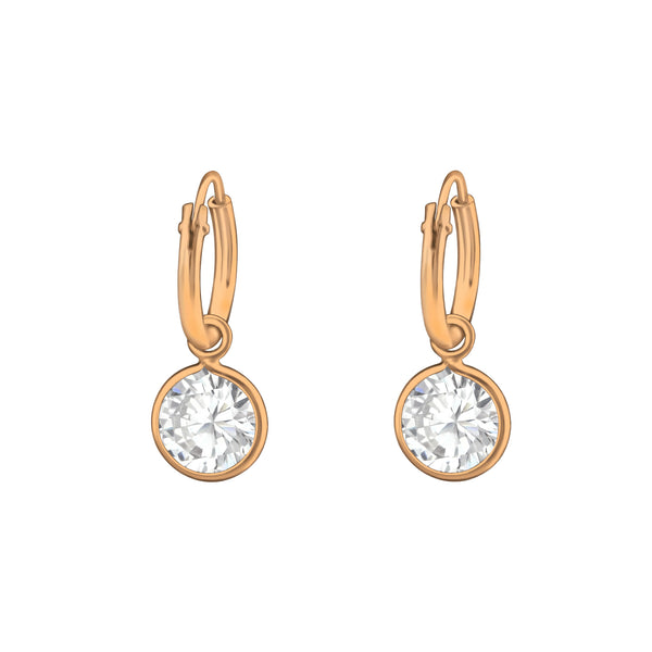14ct Rose Gold Plated Crystal Sterling Silver Mini Hoop Earrings 12mm - I love silver jewellery