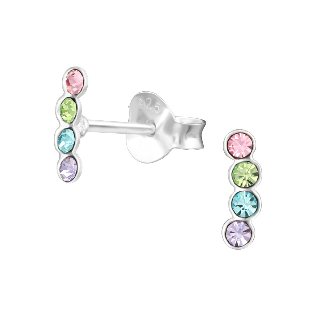 Rainbow Crystal Trailing Circle Sterling Silver Stud Earrings - I love silver jewellery
