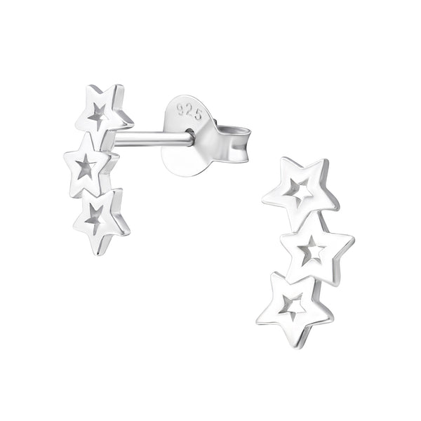 Cut Out Trailing Star Sterling Silver Stud Earrings 9mm - I love silver jewellery