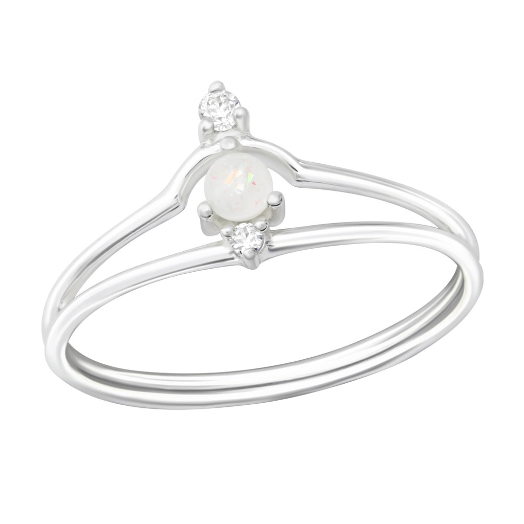 White Crystal Stone Double Row Sterling Silver Ring - I love silver jewellery