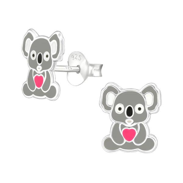 Grey Love Heart Koala Bear Sterling Silver Stud Earrings - I love silver jewellery