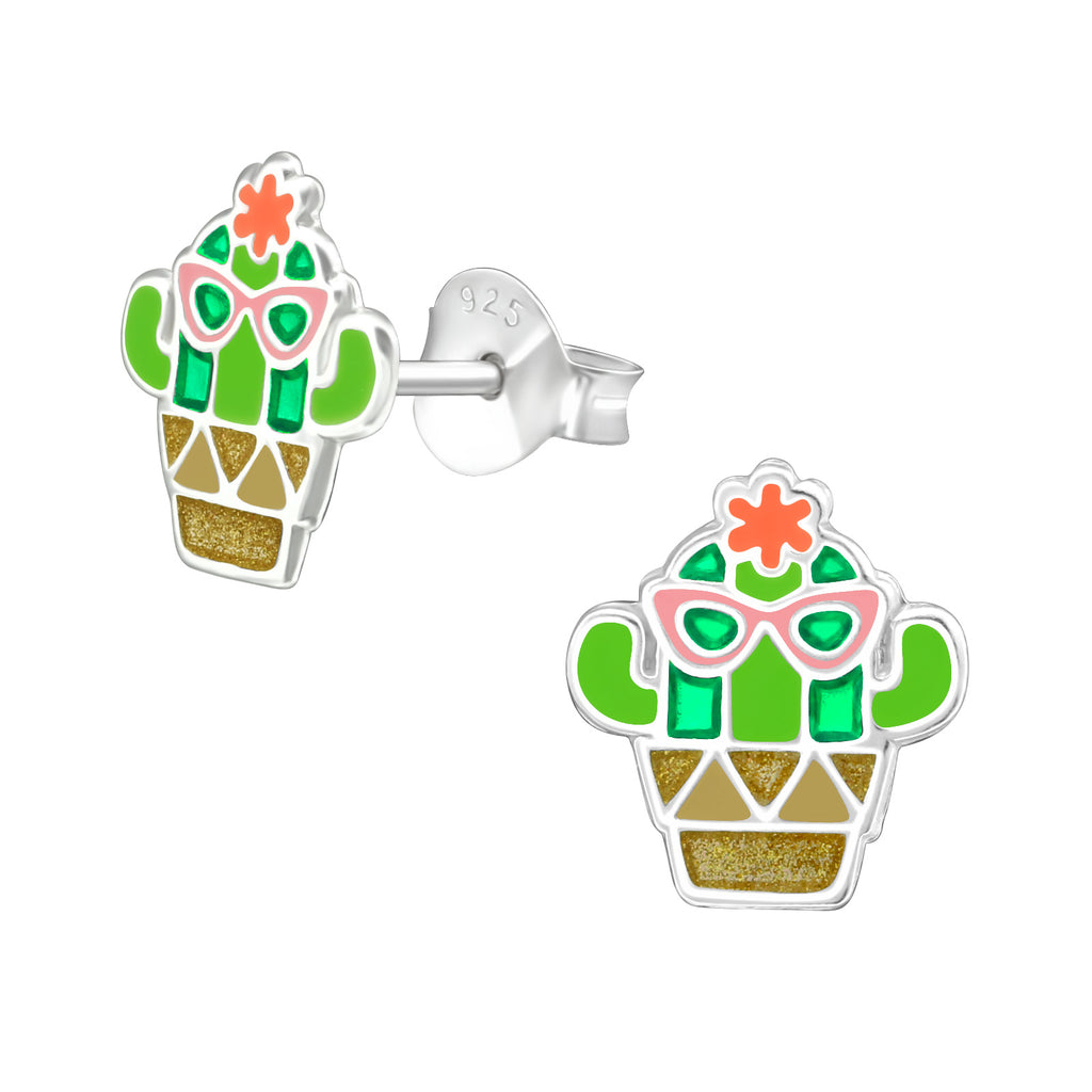 Girls Funky Cactus Sterling Silver Stud Earrings - I love silver jewellery