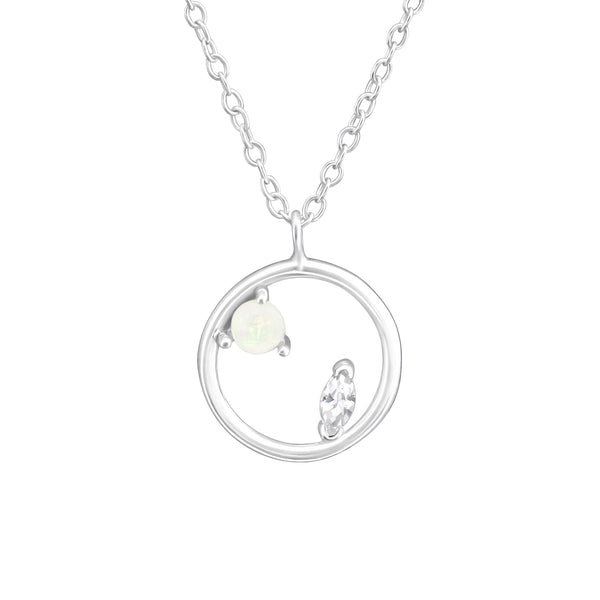 White CZ Crystal Floating Hoop Sterling Silver Mini Necklace - I love silver jewellery