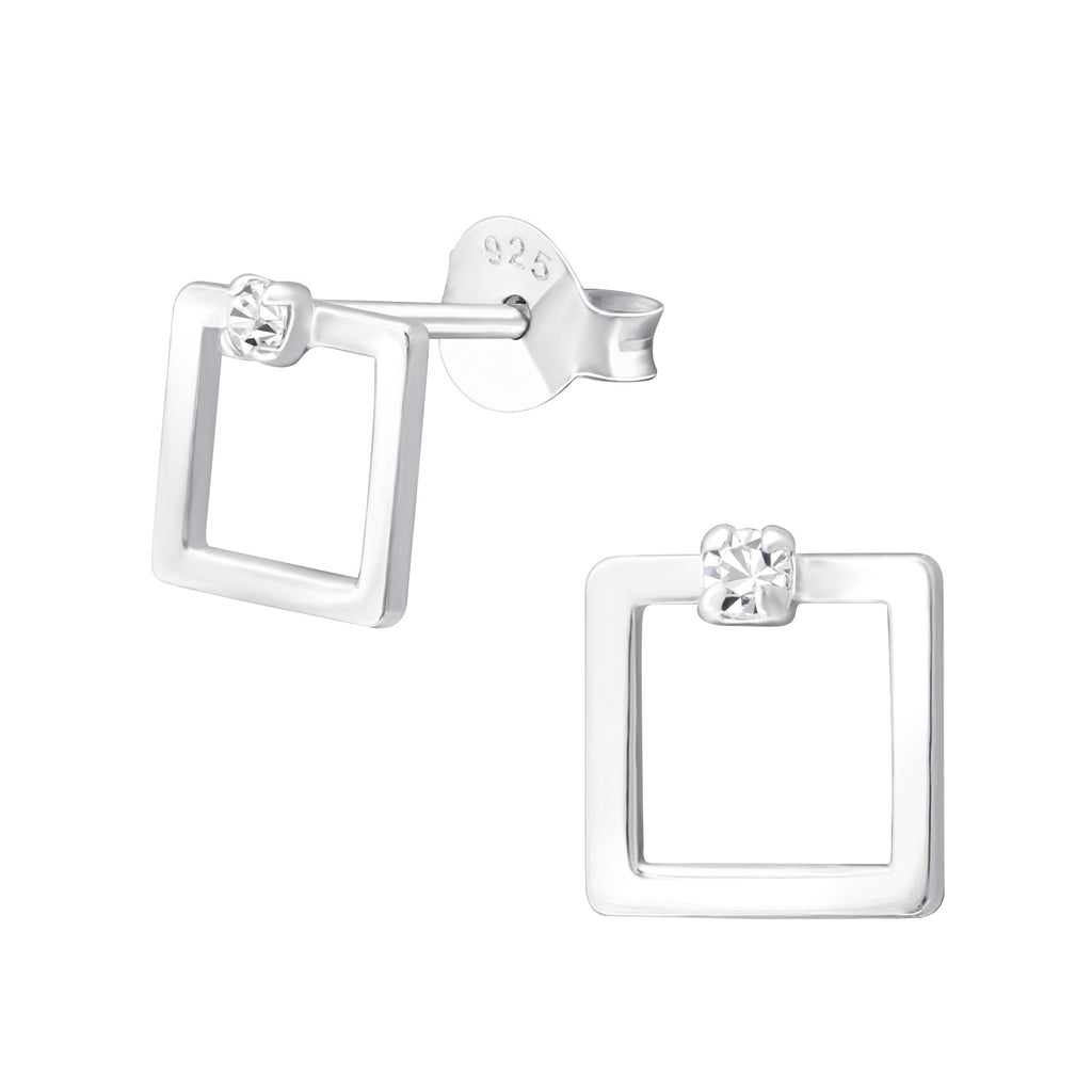 Square Crystal Sterling Silver Small Stud Earring - I love silver jewellery