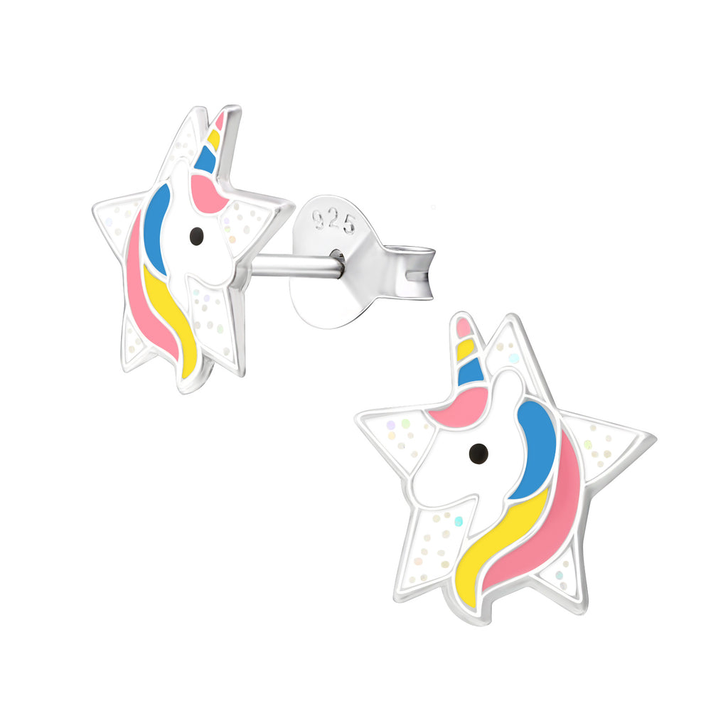 Girls Pink Yellow & Blue Star Unicorn Sterling Silver Stud Earrings 9mm - I love silver jewellery