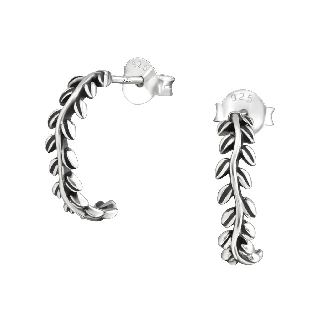 Leaf Sterling Silver Half Hoop Earrings 14mm
