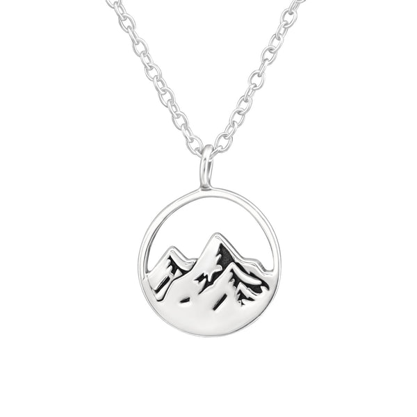 Mountain Scene Cut Out Sterling Silver Mini Necklace - I love silver jewellery