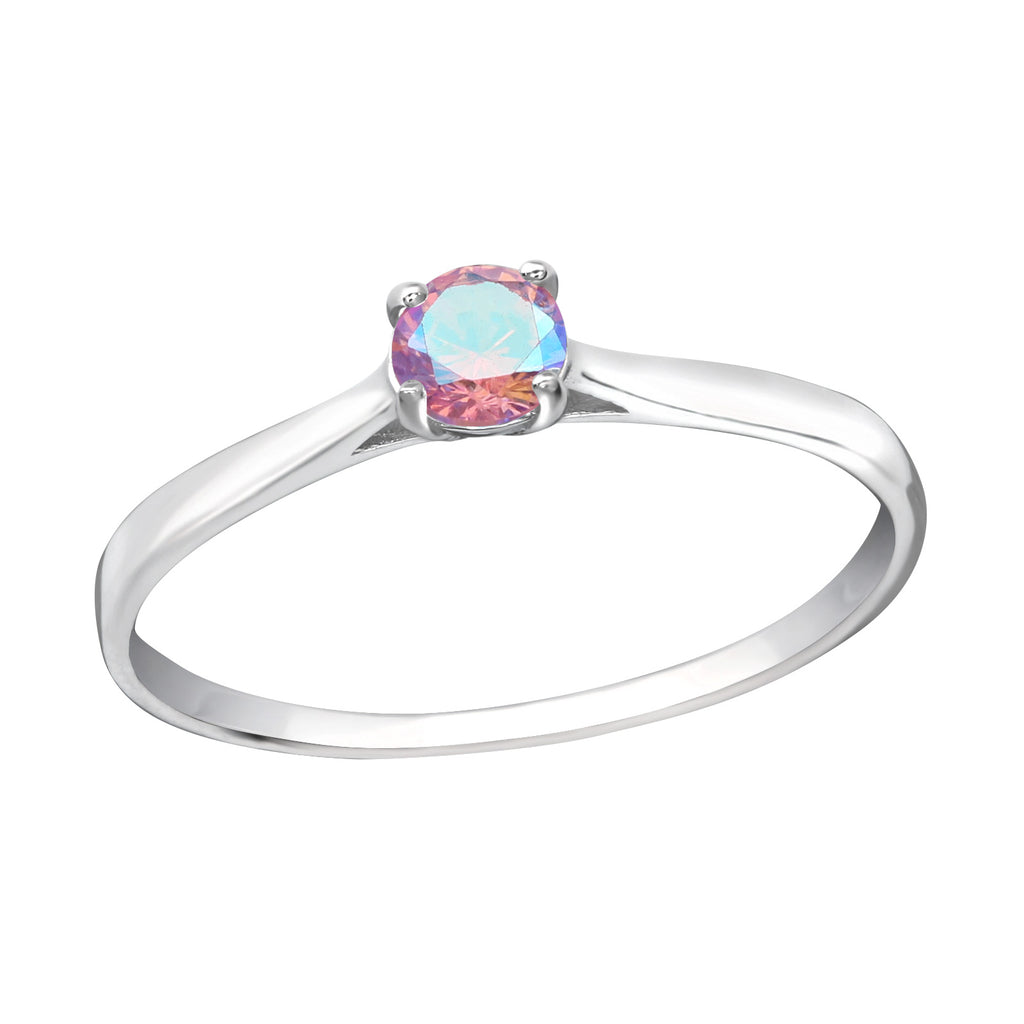 Pink Solitaire Round CZ Crystal Eternity Sterling Silver Stacking Ring - I love silver jewellery