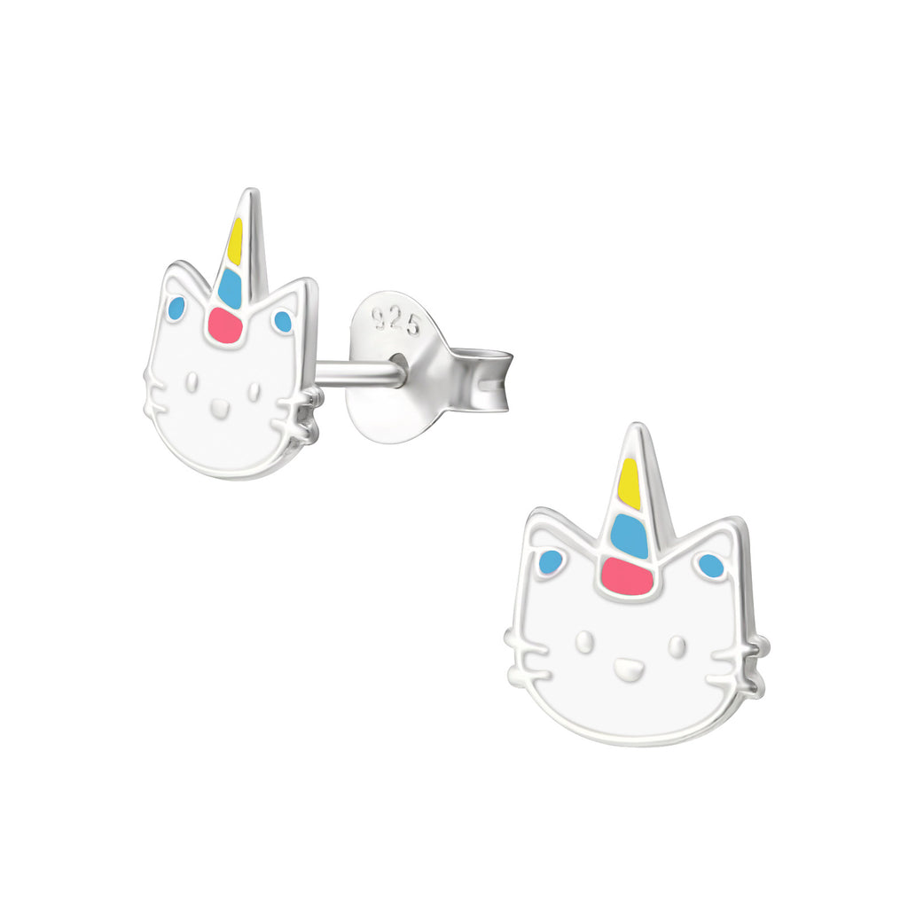 Girls Caticorn Multi-Coloured Small Sterling Silver Stud Earrings - I love silver jewellery