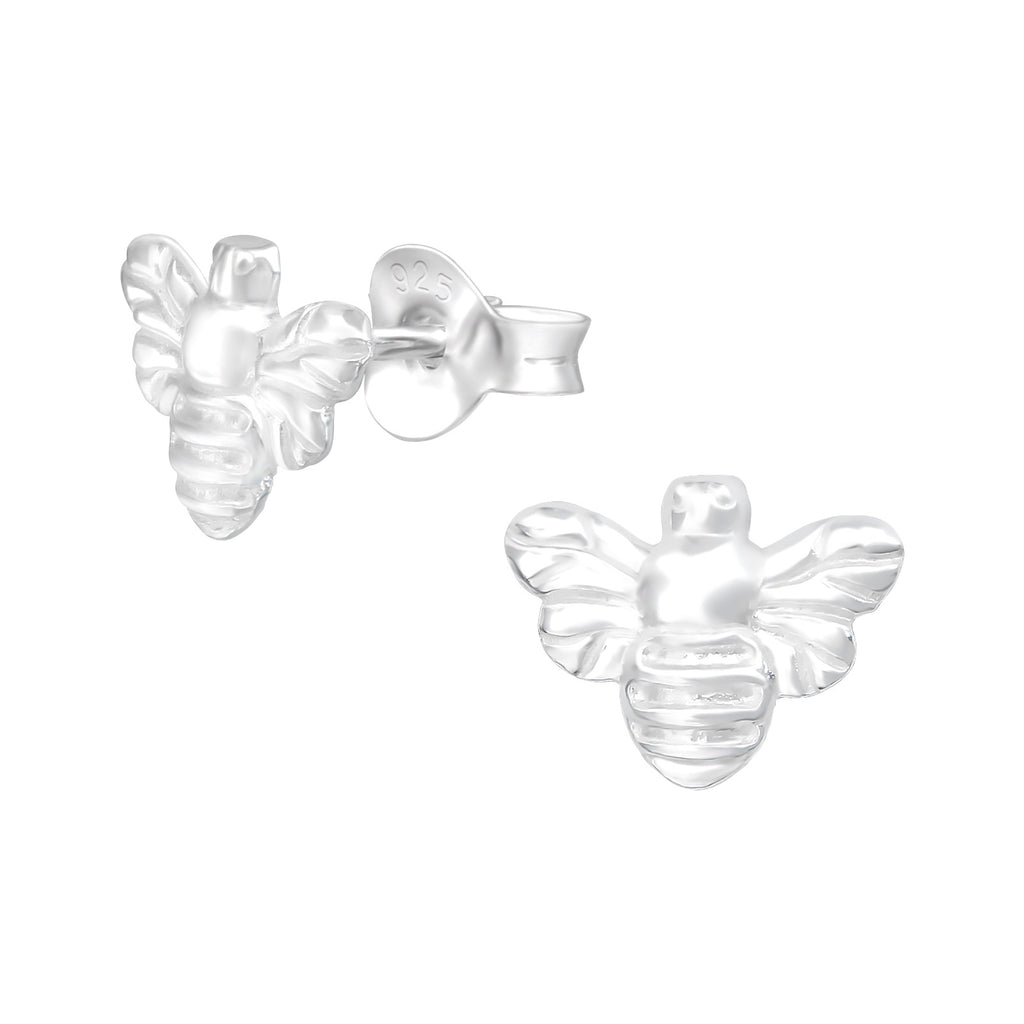 Engraved Bumble Bee Sterling Silver Stud Earrings - I love silver jewellery