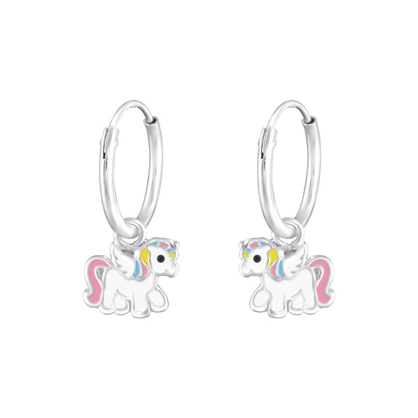 Girls Pink Unicorn Charm Sterling Silver Mini Hoop Earrings - I love silver jewellery