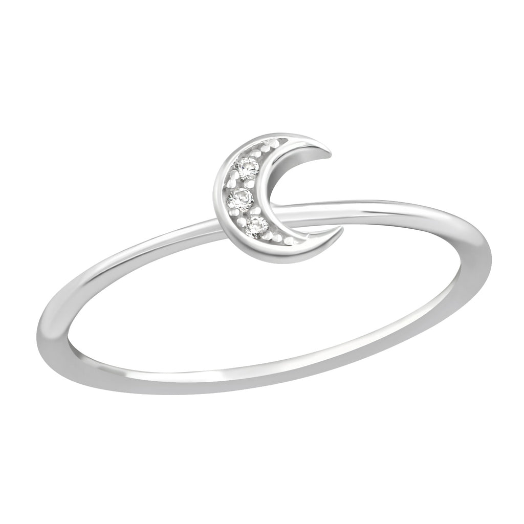 Moon CZ Crystal Sterling Silver Stacking Ring - I love silver jewellery