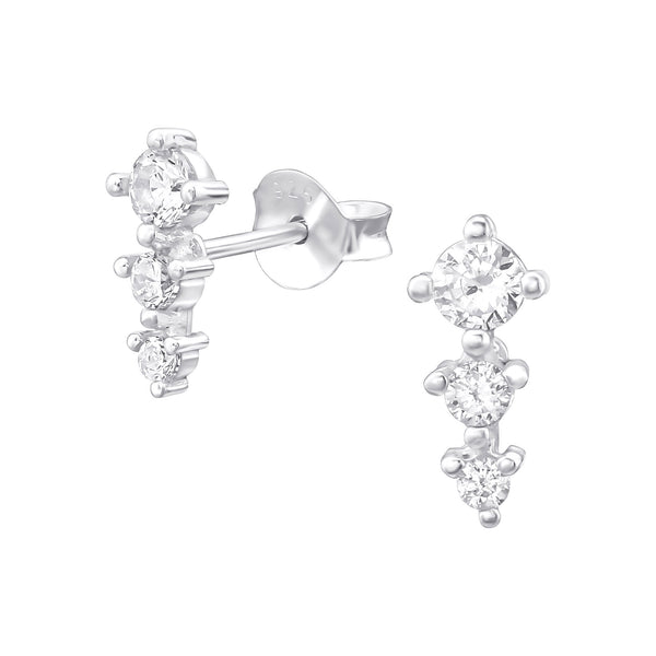 Trio CZ Crystal Sterling Silver Mini Stud Earrings - I love silver jewellery