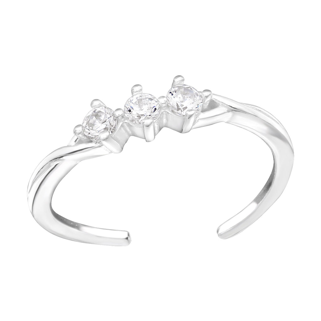 CZ Triple Crystal Sterling Silver Toe Ring - I love silver jewellery