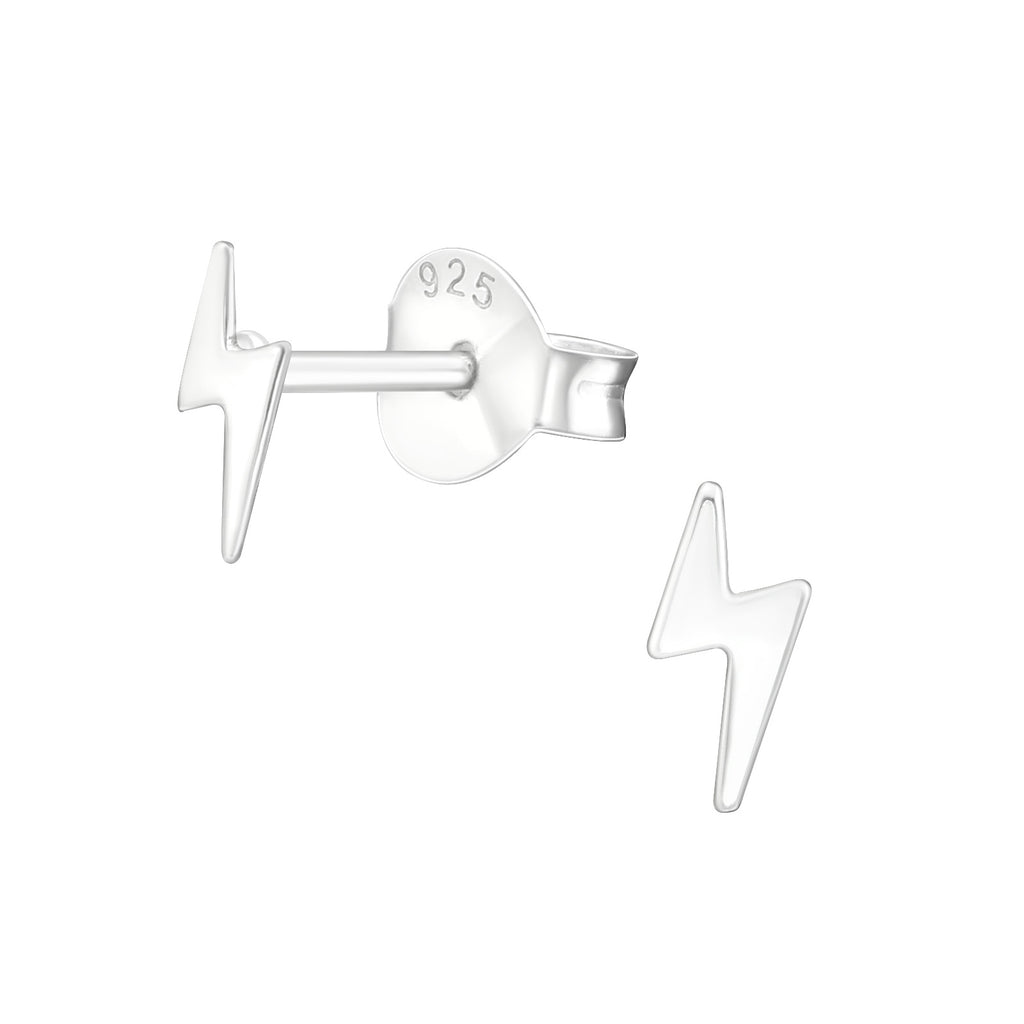 Lightning Bolt Sterling Silver Extra Tiny Stud Earrings 6mm - I love silver jewellery