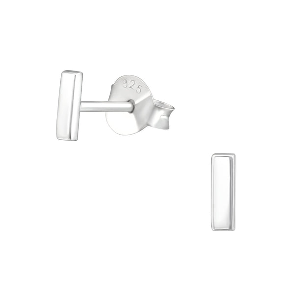 Bar Sterling Silver Tiny Stud Earrings 5mm - I love silver jewellery