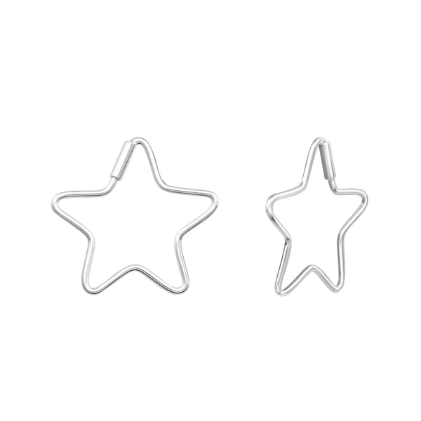 Star Sterling Silver Mini Hoop Earrings 15mm - I love silver jewellery