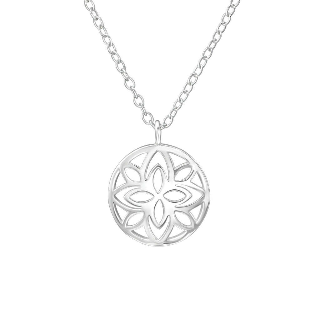 Floral Cut Out Sterling Silver Mini Necklace - I love silver jewellery