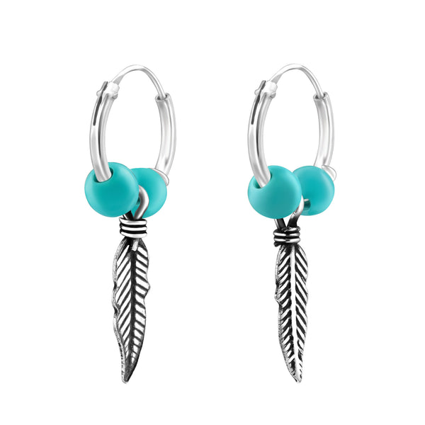 Turquoise Vintage Feather Charm Sterling Silver Mini Hoop Earrings m - I love silver jewellery