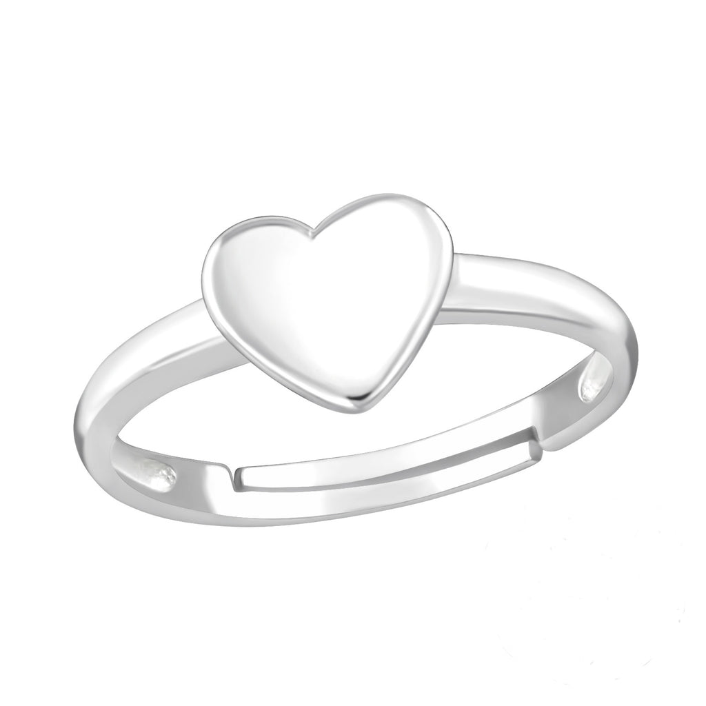 Heart Midi Sterling Silver Adjustable Ring - I love silver jewellery