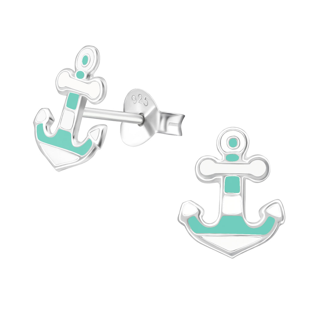 Light Blue & White Anchor Stripe Sterling Silver Stud Earrings - I love silver jewellery