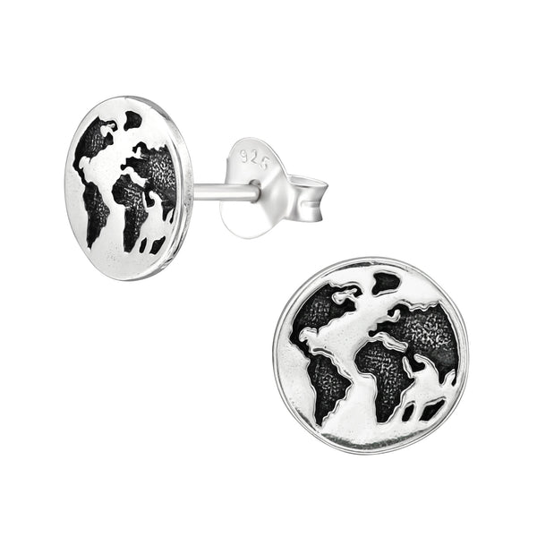 World Globe Sterling Silver Mini Stud Earrings 8mm - I love silver jewellery