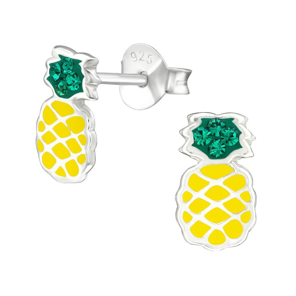 Yellow & Green Crystal Pineapple Sterling Silver Stud Earrings - I love silver jewellery