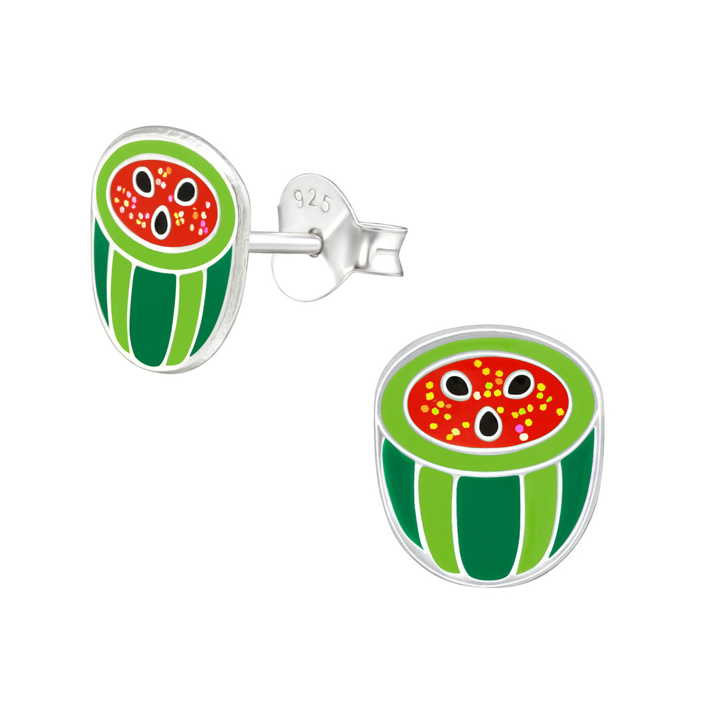 Girls Green Glittery watermelon Sterling Silver Stud Earrings - I love silver jewellery