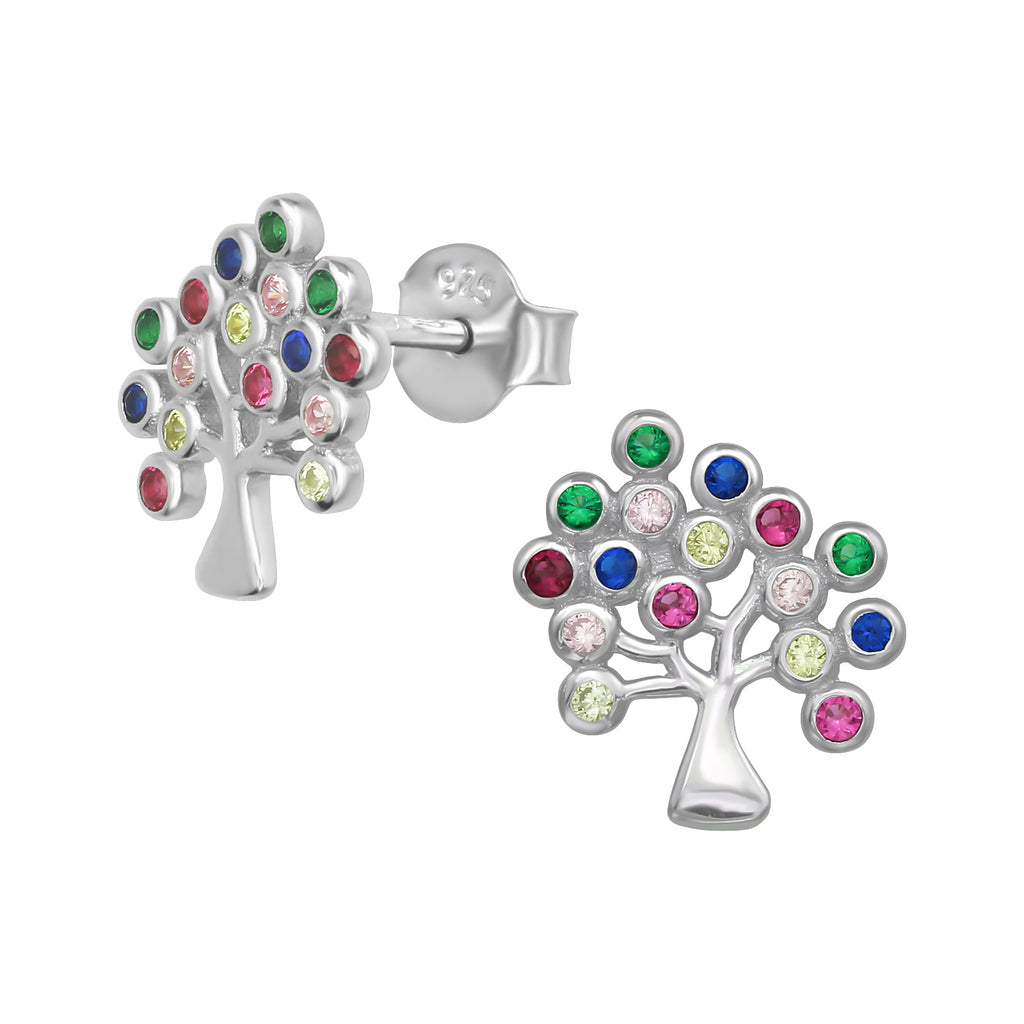 Multi-Colour Tree Of Life Sterling Silver Stud Earrings - I love silver jewellery