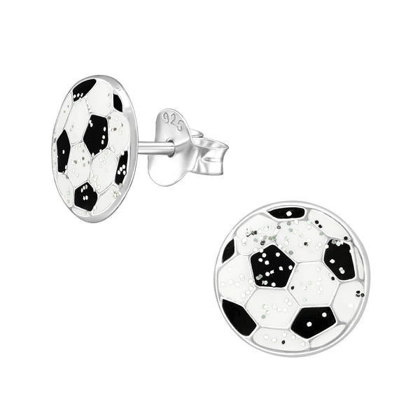 Girls Black & White Glittery Football Sterling Silver Stud Earrings - I love silver jewellery