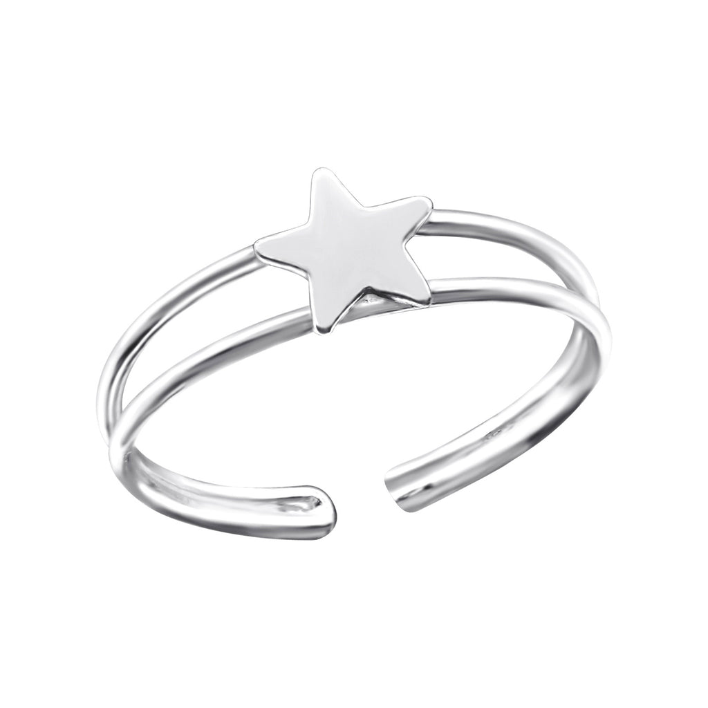 Star Sterling Silver Adjustable Toe Ring - I love silver jewellery