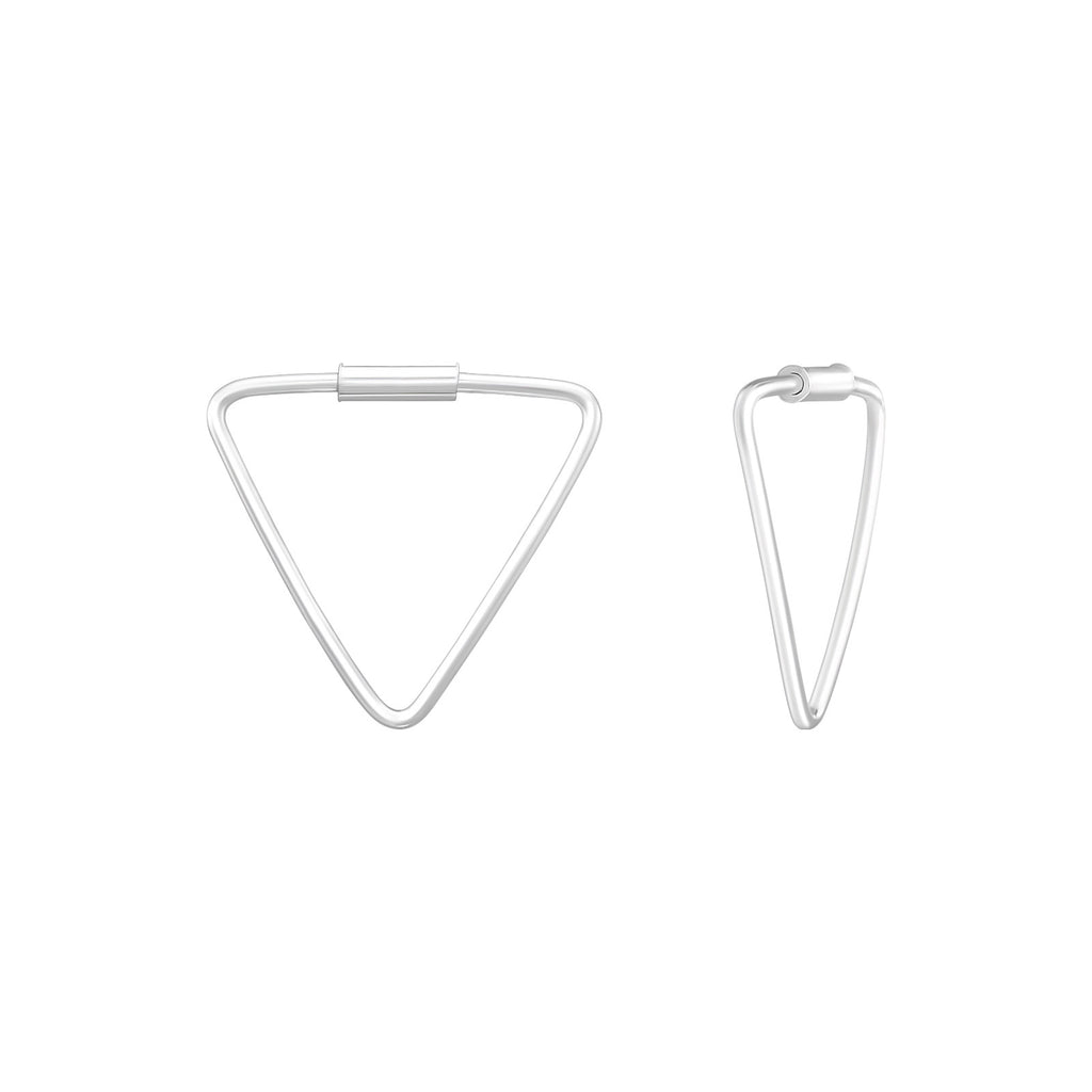 Triangle Sterling Silver Mini Hoop Earrings 15mm - I love silver jewellery
