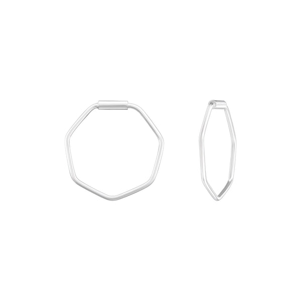 Hexagon Sterling Silver Small Hoop Earrings 14mm - I love silver jewellery