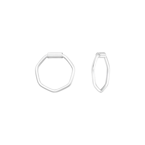 Hexagon Sterling Silver Tiny Hoop Earrings 10mm - I love silver jewellery