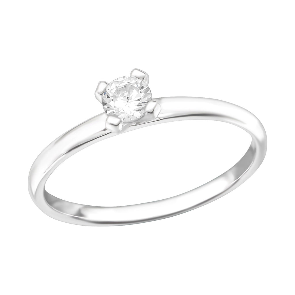 Round Solitaire CZ Eternity Sterling Silver Stacking Ring - I love silver jewellery