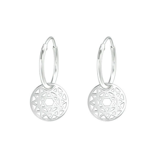 Star Cut Out Disk Mini Sterling Silver Hoop Earrings 12mm - I love silver jewellery
